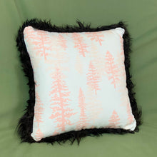 "Load image into Gallery viewer, Icelandic Sheepskin Pelt Pillow 16"" x 16"" - Handmade Sheepskin Home Decor - Black with Pink Pines"