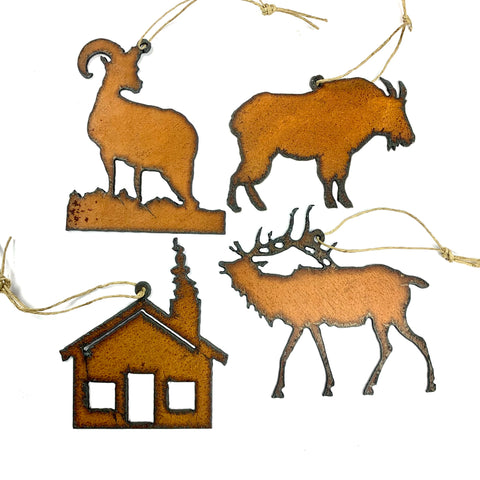 Hunting Cabin - Rustic Metal Montana Outdoors Ornament SET of 4 - Cabin, Mountain Goat, Bighorn Sheep, Elk