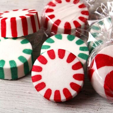 Sheep Milk Soap - 4oz Round Bar - Peppermint Candy - great for making wet felted soap with wool
