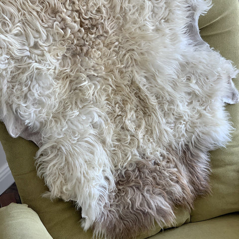 Icelandic Shearling Sheepskin Pelt - white 33 x 20 inches - home decor or rug