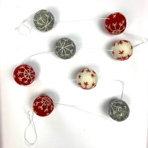 Felted Wool Ball Holiday Garland