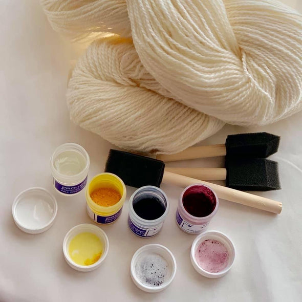 Learn to Dye - Handpainted Yarn Craft Box with Video Tutorial - Copia Cove Icelandic Sheep & Wool