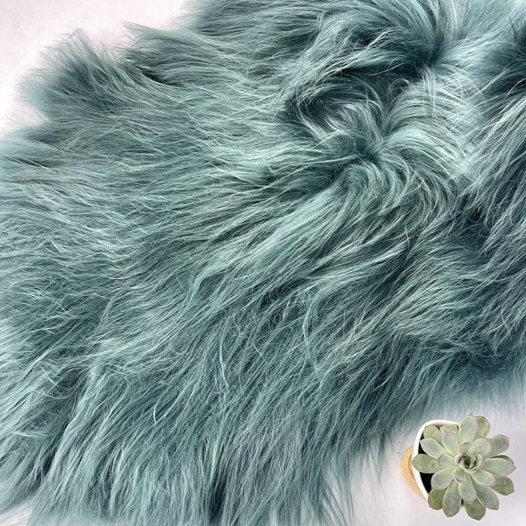 Premium Icelandic Sheepskin Rug, Bottle Green Long Wool, Copia Cove Icelandic Sheep Montana USA Sheepskin rug