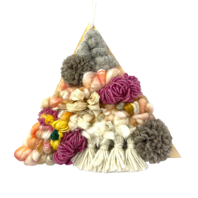 Spring Bouquet Woven Wall Art Home Decor - Large Floral Handmade Triangle Weaving - Copia Cove Icelandic Sheep & Wool