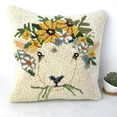 "Spring Lamb Wool Rug Hook Throw Pillow with Cotton Velvet Backing 14"" x 14"" Sheep Pillow Home Decor - Copia Cove Icelandic Sheep & Wool"