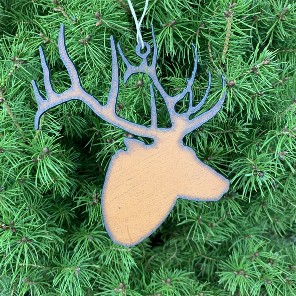 The Hunt - Rustic Metal Montana Outdoors Ornament SET of 4 - Elk Head, Bear, Deer, Moose - Copia Cove Icelandic Sheep & Wool