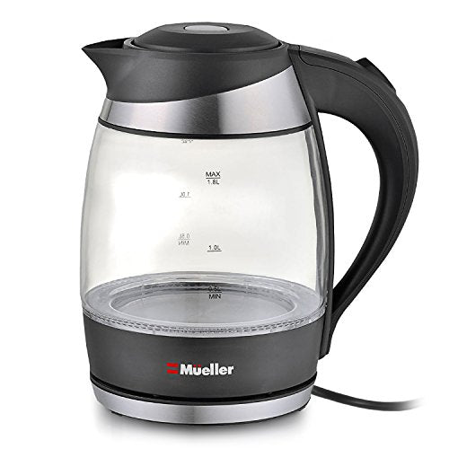 Mueller Ultra SpeedBoil Cordless Electric Kettle Glass Tea, Coffee Pot 1.8 Liter Cordless with LED Light