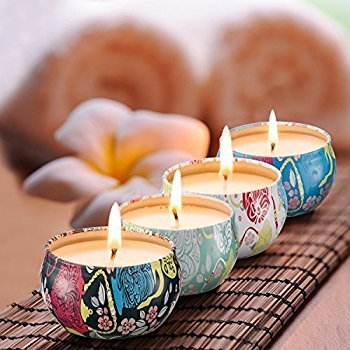 Scented Candles Jasmine,Lotus,Lilac Blossoms & White Gardenia