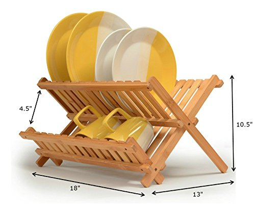 Wooden Plate Rack Made of 100% Natural Bamboo