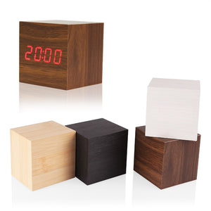 Wooden LED Alarm Clock w/ Temp, Date LED Display