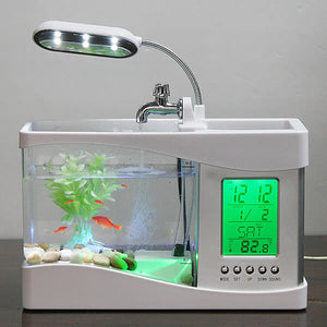 Desktop Fish Tank with LED Clock