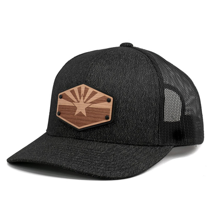 Arizona Flag Wooden Patch Trucker Hat By Union Standard