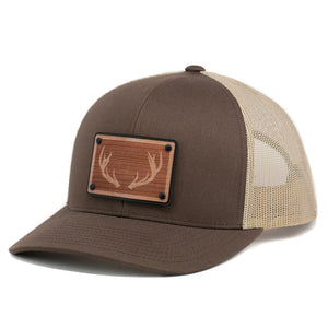 Wooden Patch Buck Deer Rack Hunting Trucker Hat By Union Standard