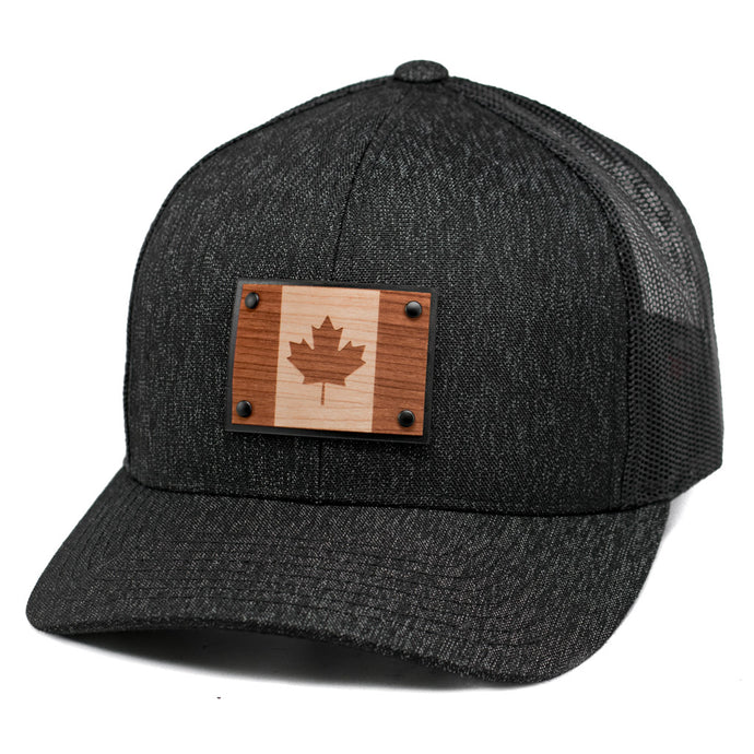 Canadian Flag Wooden Patch Snapback Hat