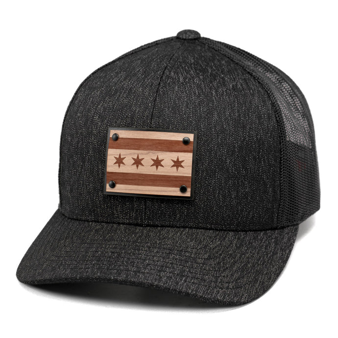 Chicago Flag Wooden Patch Snapback Trucker Hat Or Cap