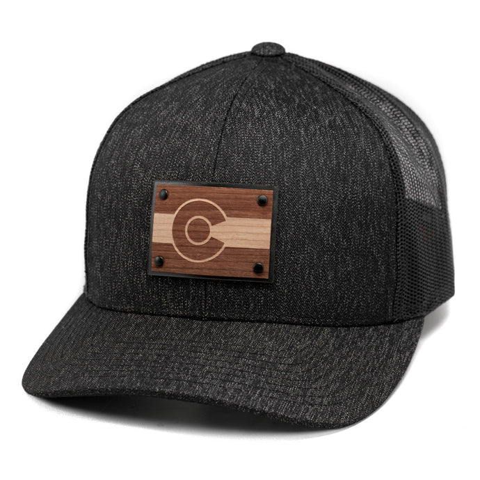 Colorado Flag Wooden Patch Snapback Hat