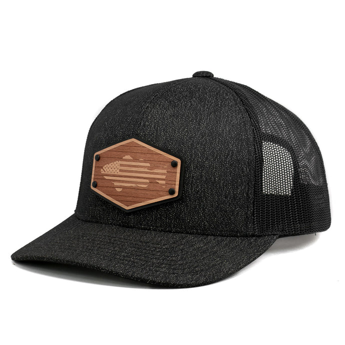 Wooden Patch American Flag Bass Snapback Hat By Union Standard Cap Company