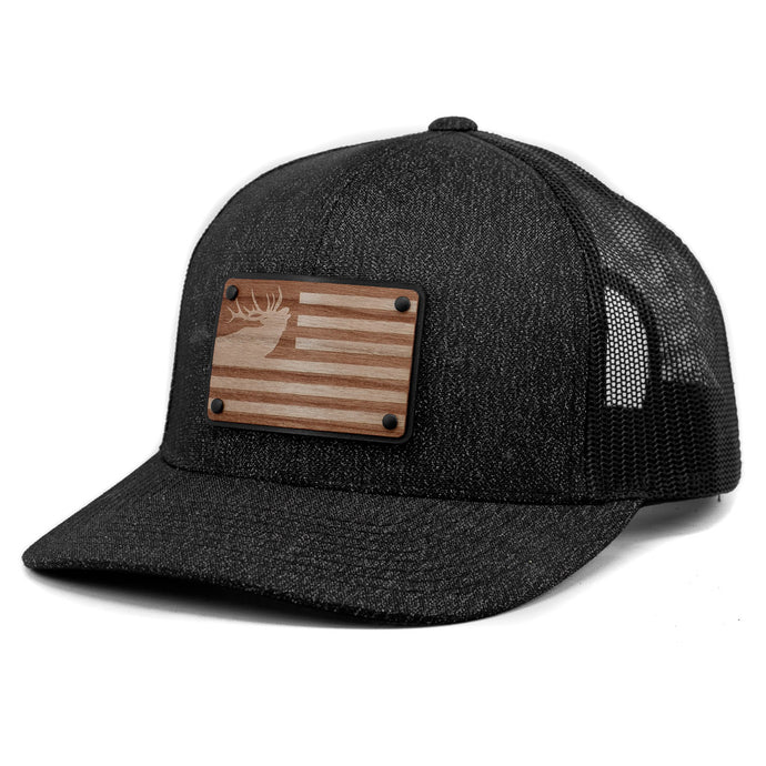 Freedom Elk Wooden Patch Trucker Hat By Union Standard