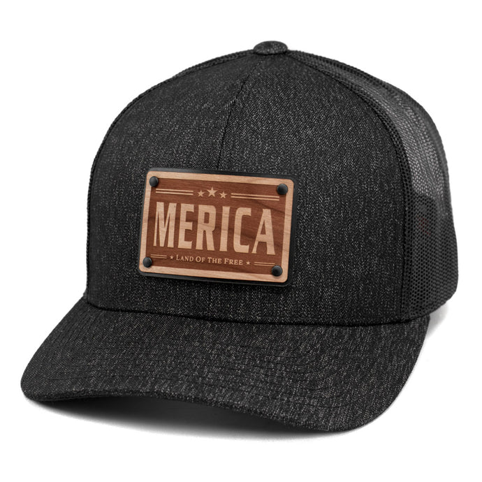 Merica Wooden Patch Snapback Trucker By Union Standard
