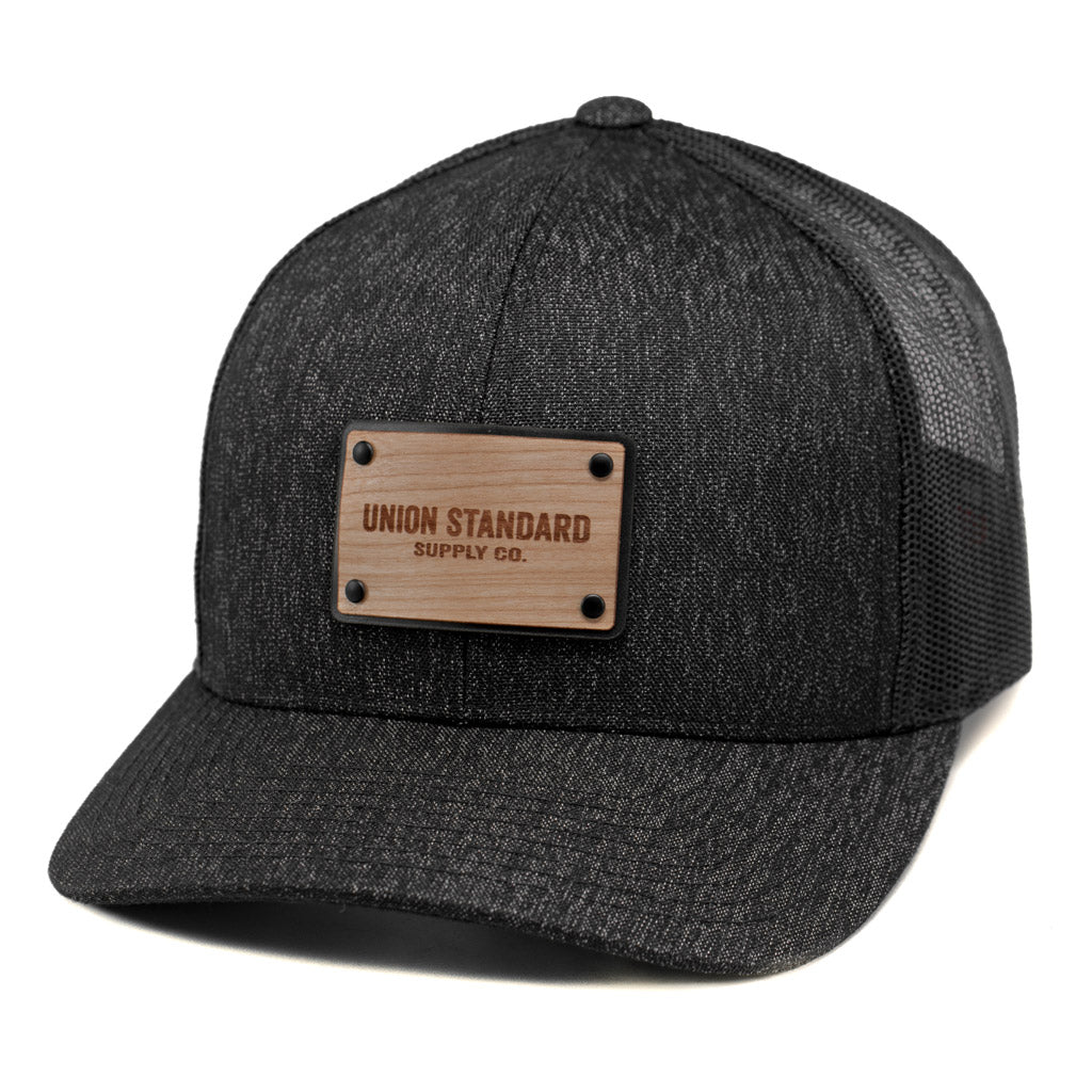 sale retailer c00e6 75667 Load image into Gallery viewer, Union Standard Wooden Patch Curved Bill Trucker  Hat Or Cap ...