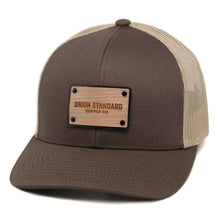 Load image into Gallery viewer, Union Standard Wooden Patch Curved Bill Trucker Hat Or Cap
