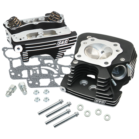 S&S® Super Stock® 89cc Cylinder Head Kit For 2006-'16 HD® Big Twins - Wrinkle Black Powder Coat Finish