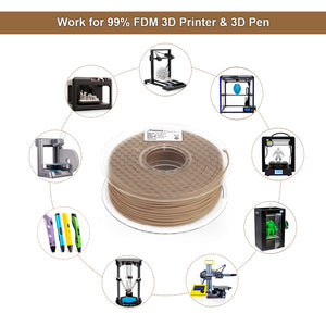 AMOLEN PLA Filament 1.75mm, Wood Color, 3D Printer Filament +/- 0.03 mm, 1KG(2.2LB).