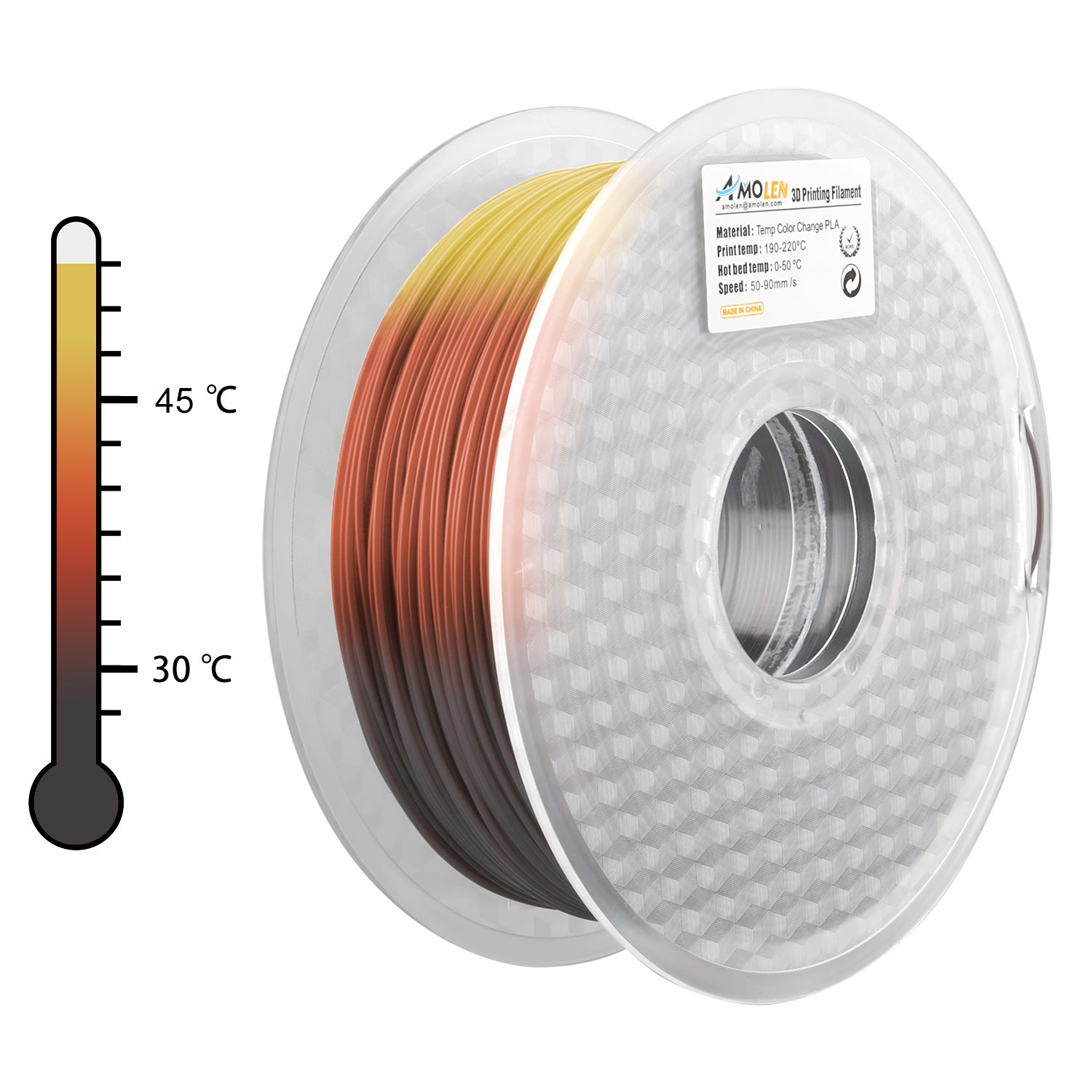 AMOLEN 3D Printer Filament, Tri Color Changing with TEMP, Pine  Green/Brown/Yellow 1 75mm+/-0 03, 2 2LB/1KG