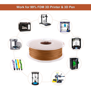 AMOLEN PLA 3D Printer Filament, Red Wood PLA Filament 1.75mm 20% Real Wood,1KG