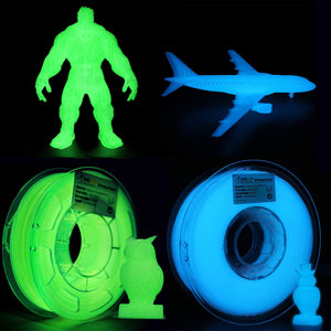 AMOLEN 3D Printer Filament, Glow in the Dark PLA Filament 1.75mm +/- 0.03 mm, 1KG