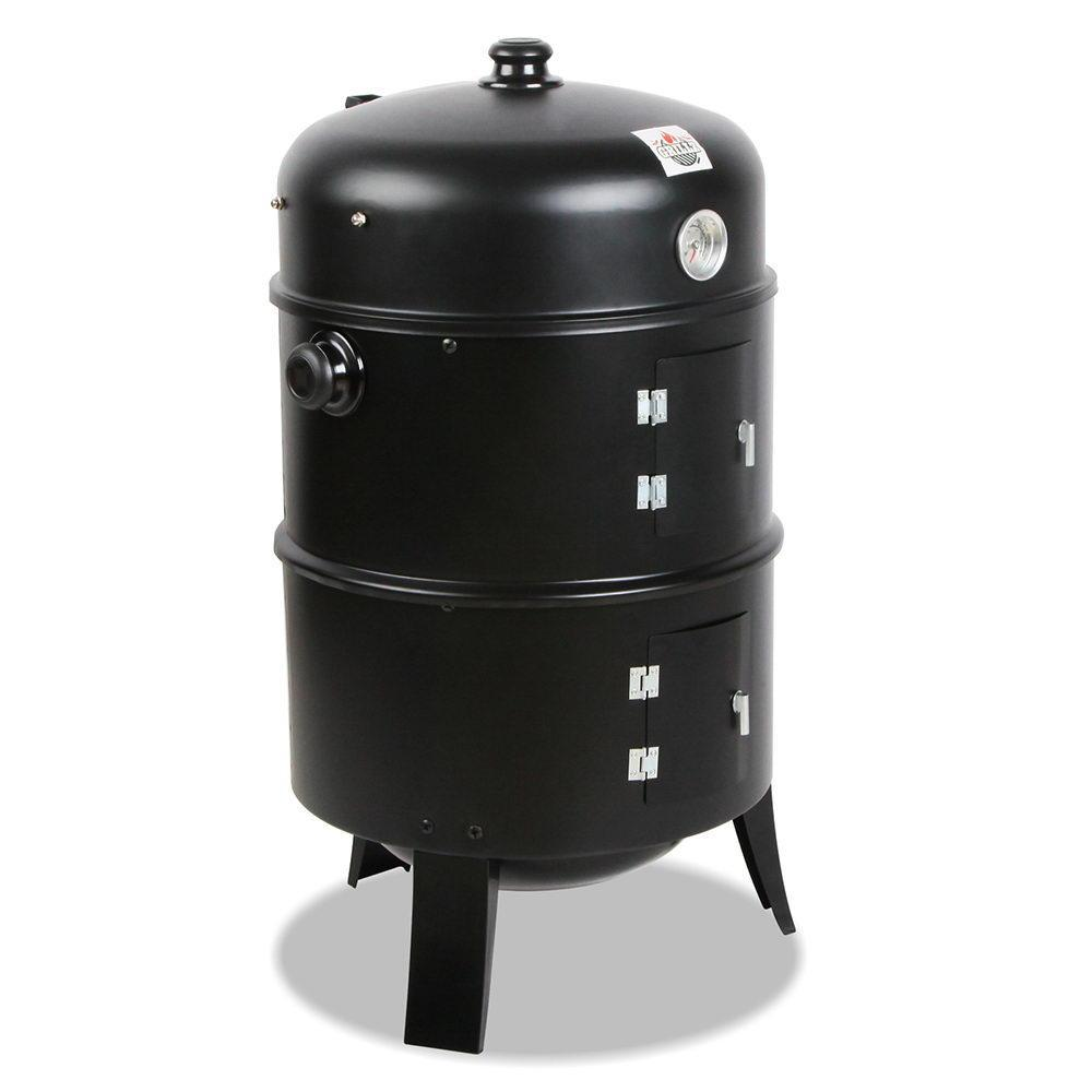 3-in-1 Charcoal BBQ Smoker - Black - Outdoor Living Essentials