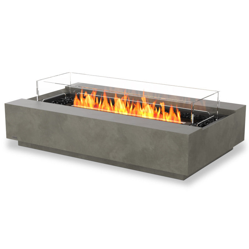 Cosmo 50 ethanol fire pit table natural black