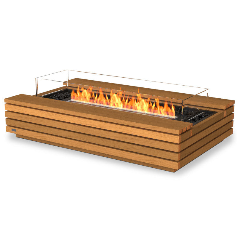 Cosmo 50 ethanol fire pit table teak black