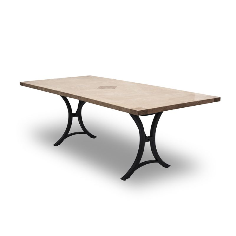 Delphi Large Rectangle  Stone Travertine Table with Minerva Base - Outdoor Living Essentials