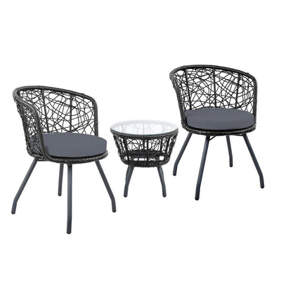 Austin Outdoor Balcony Set, Black - Outdoor Living Essentials