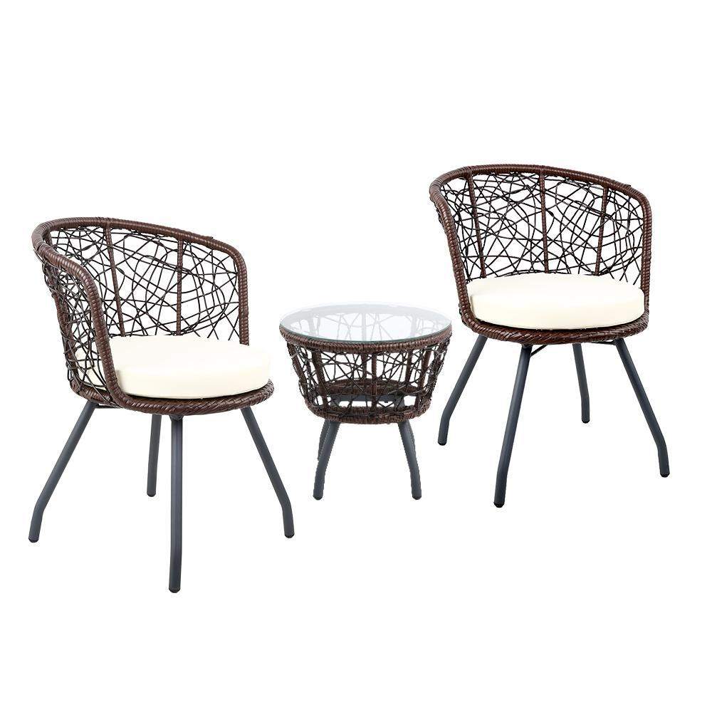 Austin Outdoor Balcony Set, Brown - Outdoor Living Essentials