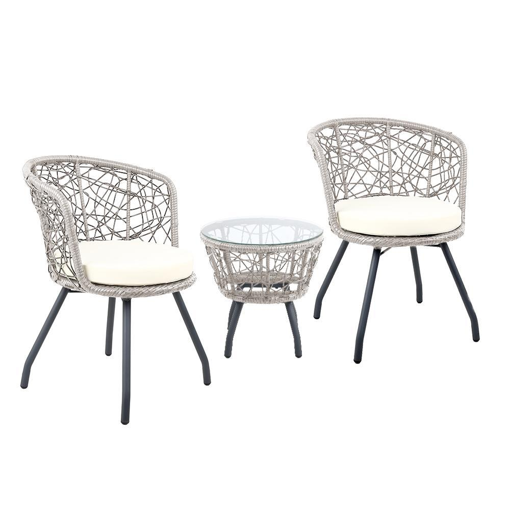 Austin Outdoor Balcony Set, Grey - Outdoor Living Essentials