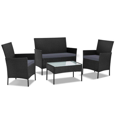 Ormond Outdoor Lounge Set, Black - Outdoor Living Essentials