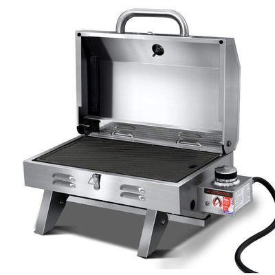 Houston Portable Gas BBQ with Hot Plate - Outdoor Living Essentials