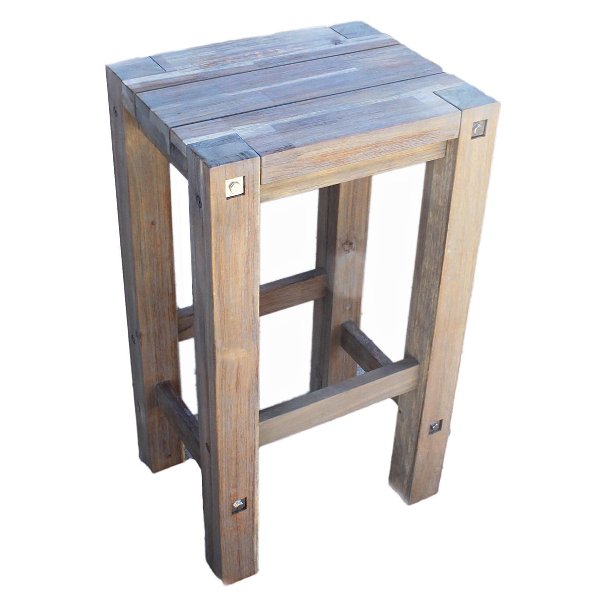 Sturdy Outdoor Bar Stool, Grey Brush - Outdoor Living Essentials