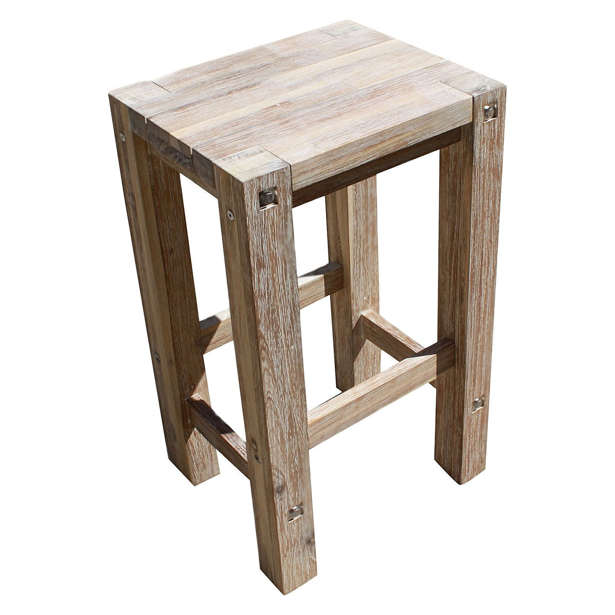 Sturdy Outdoor Bar Stool, White Brush - Outdoor Living Essentials