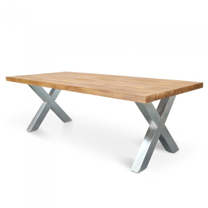 2.5m Outdoor Dining Table - Galvanized - Outdoor Living Essentials