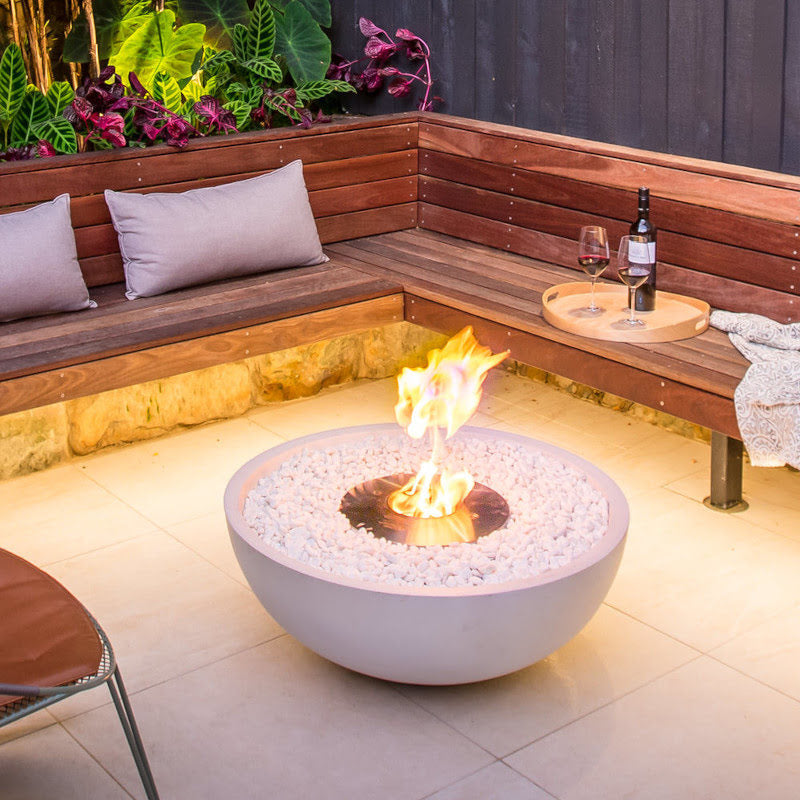 Mix 850 ethanol fire pit night bench close up