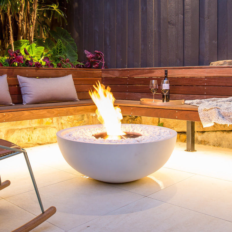 Mix 850 ethanol fire pit bowl bone white pebbel