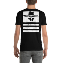 "Load image into Gallery viewer, Back Print Distressed Flying Cowboys ""Stripes"" T-Shirt"