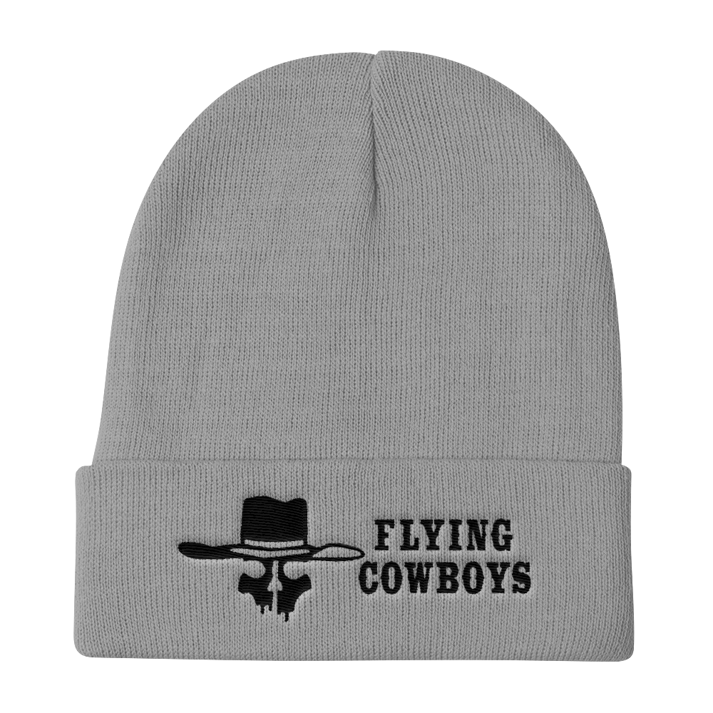Flying Cowboys Black on Grey Knit Beanie