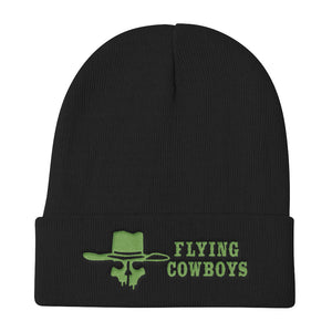 Flying Cowboys Green on Black Knit Beanie