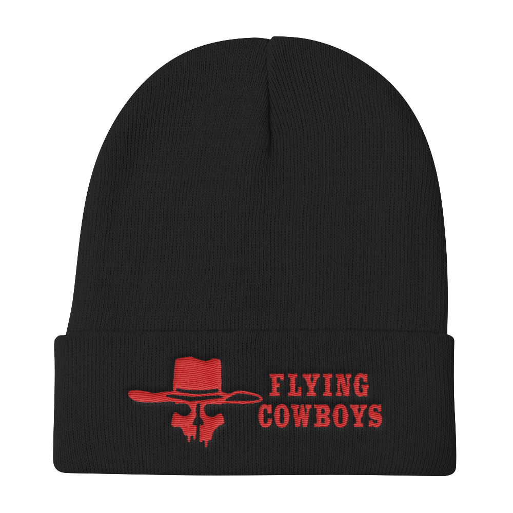 Flying Cowboys Red on Black Knit Beanie