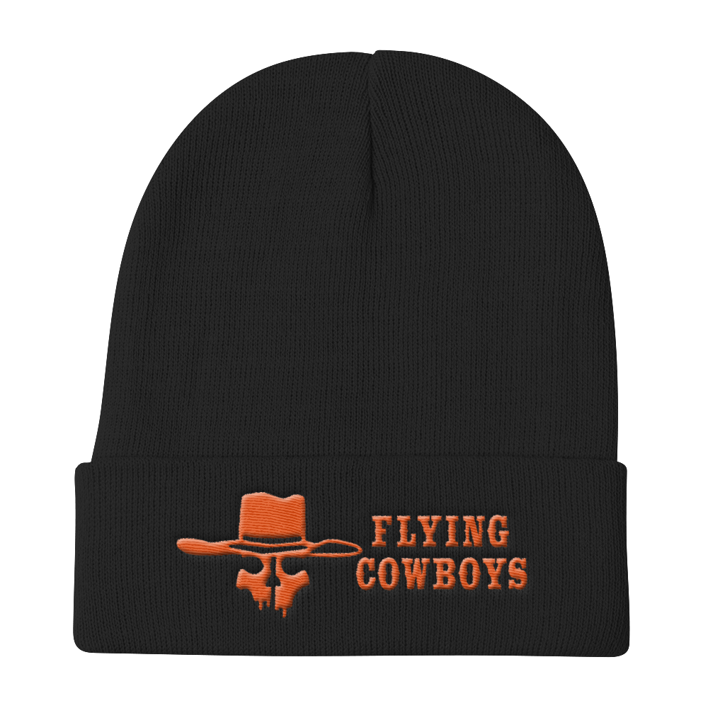 Flying Cowboys Orange on Black Knit Beanie