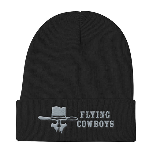 Flying Cowboys Silver on Black Knit Beanie
